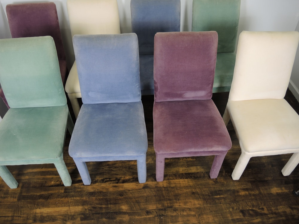 Eight Plush Parsons Dining Chairs Ebth