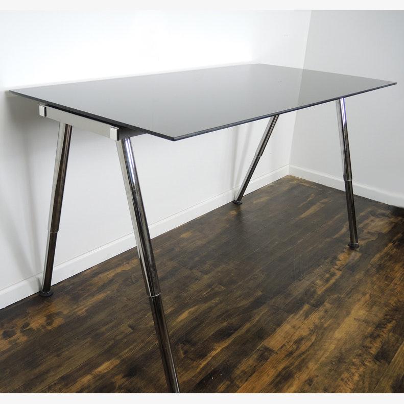Ikea galant adjustable height glass standing desk work