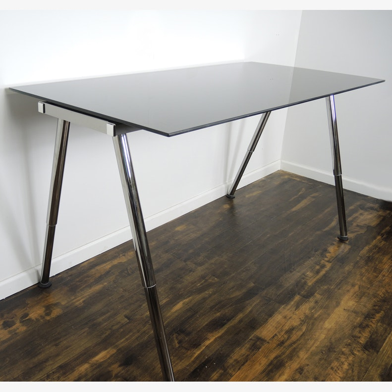 IKEA Galant Adjustable Height Glass Standing Desk Work Table ...