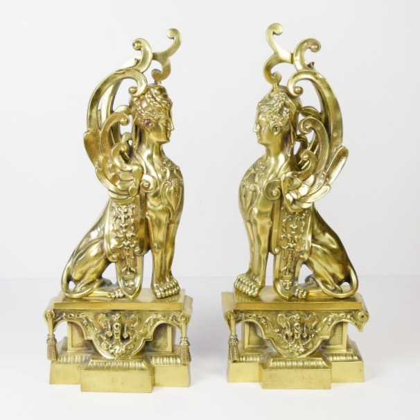pair of antique figural brass griffin andirons front only ebth