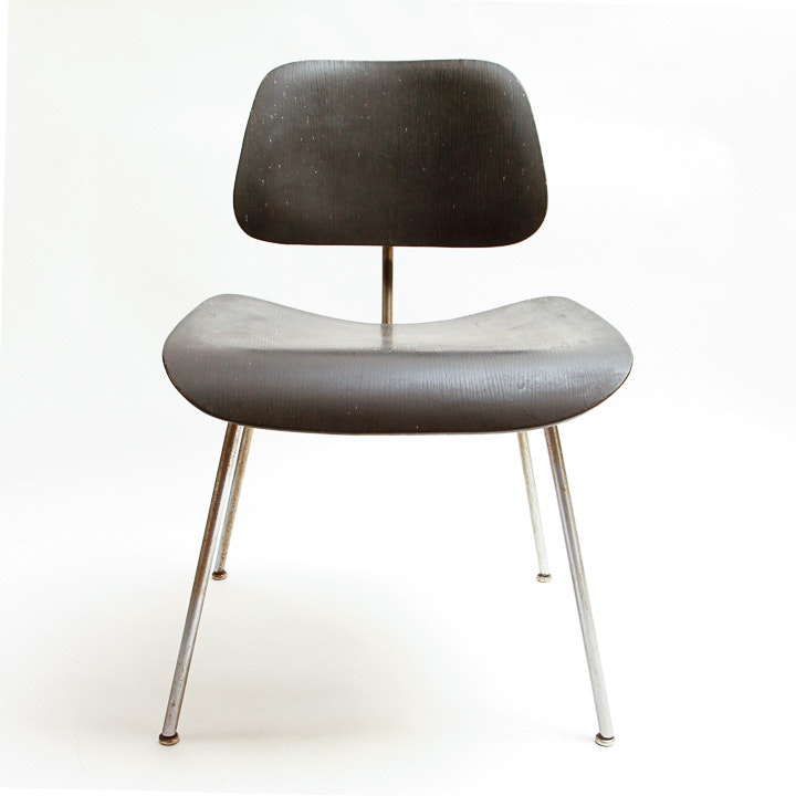 Black Charles Eames Dcm Chair Ebth