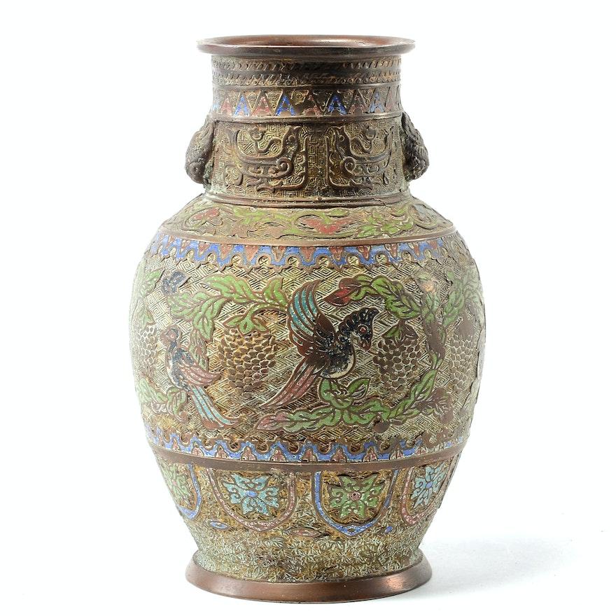Japanese Bronze Champlev Vase Ebth