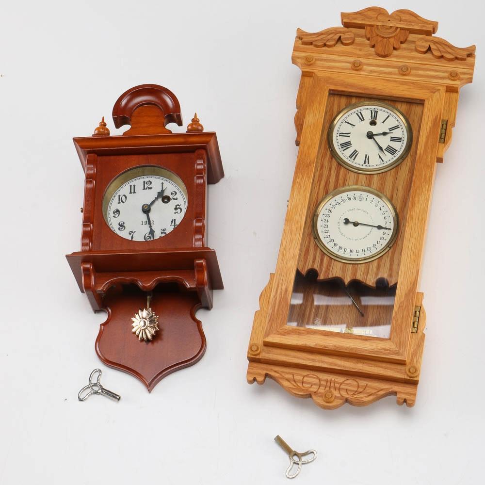 Assortment Of Miniature Schlabaugh Amp Sons Wooden Clocks Ebth