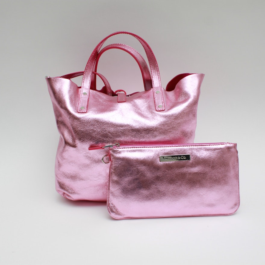 Pink Metallic Reversible Suede Tote With Wristlet