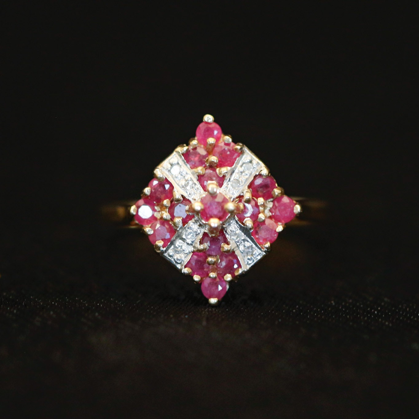 10K Yellow Gold Diamond and Ruby Art Deco Cocktail Ring