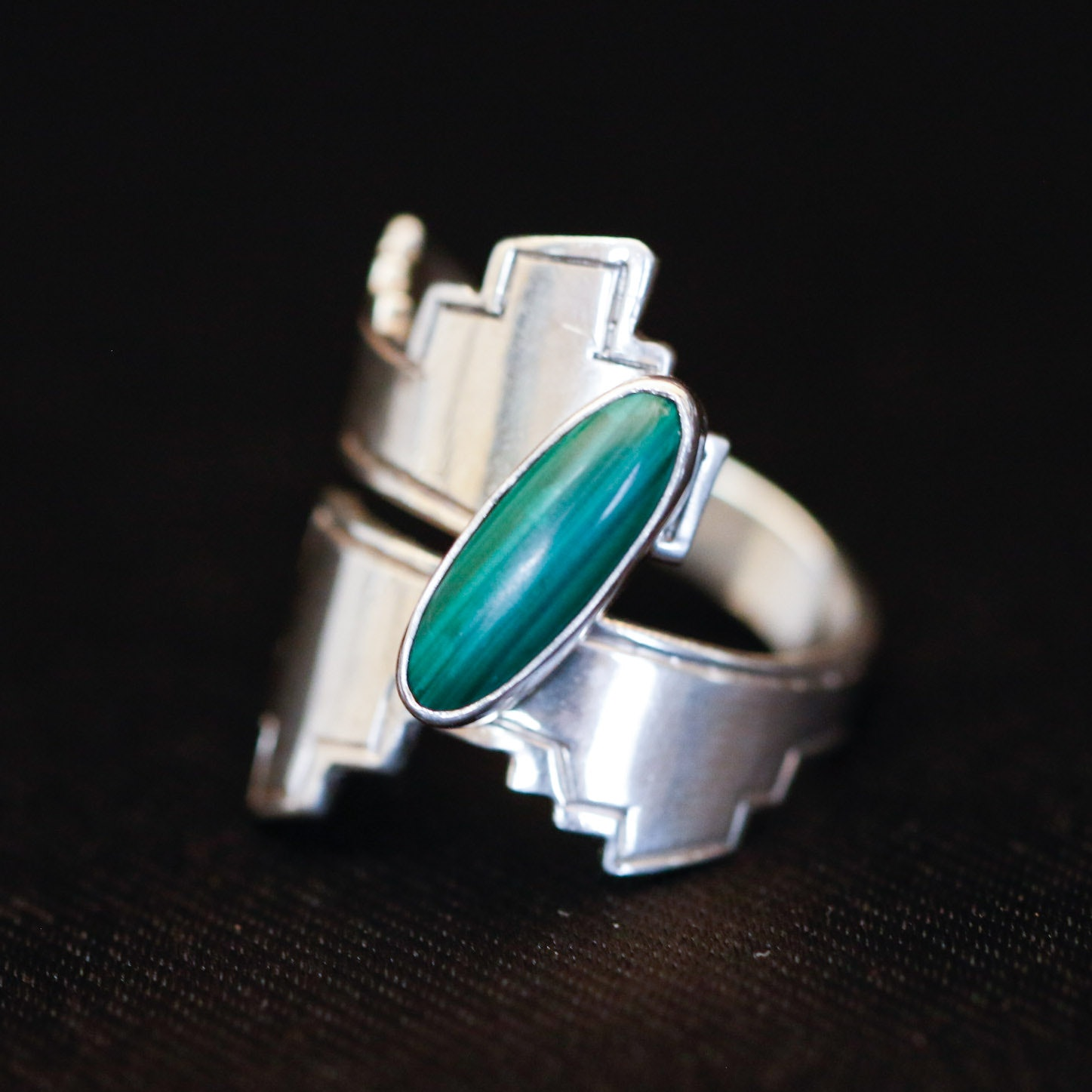 Signed Navajo Sterling and Malachite Ring