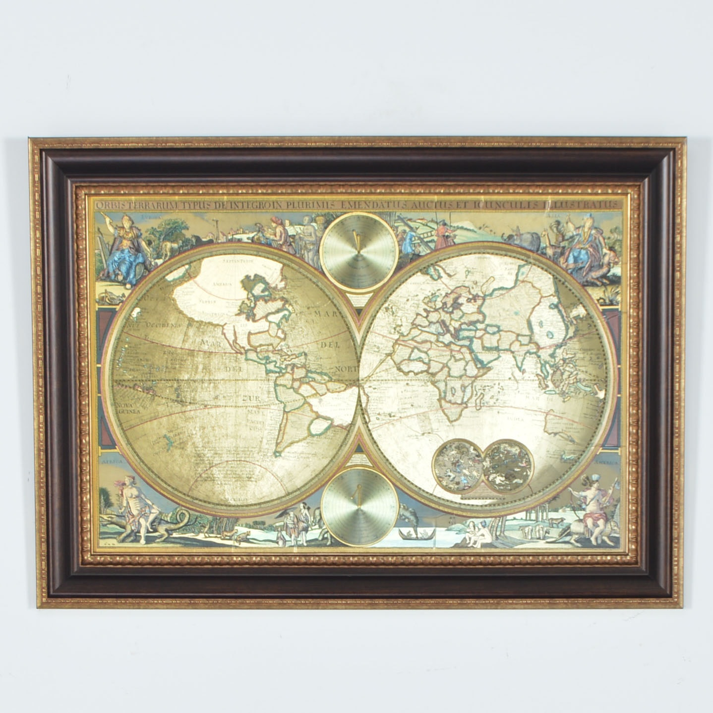 Gold Foil World Map Framed.Framed Reproduction Blaeu Gold Foil Double World Map Ebth