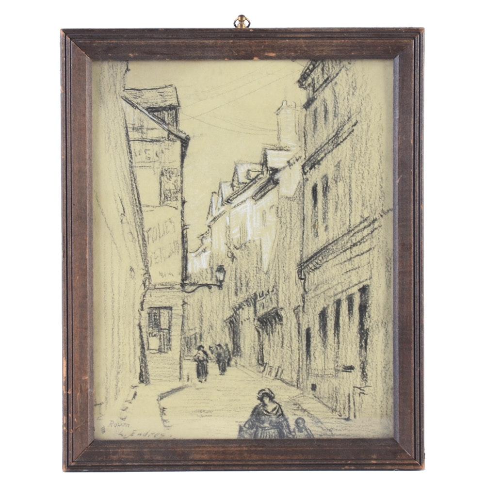L. Endres 1924 Conté Crayon Street Drawing of Rouen, France