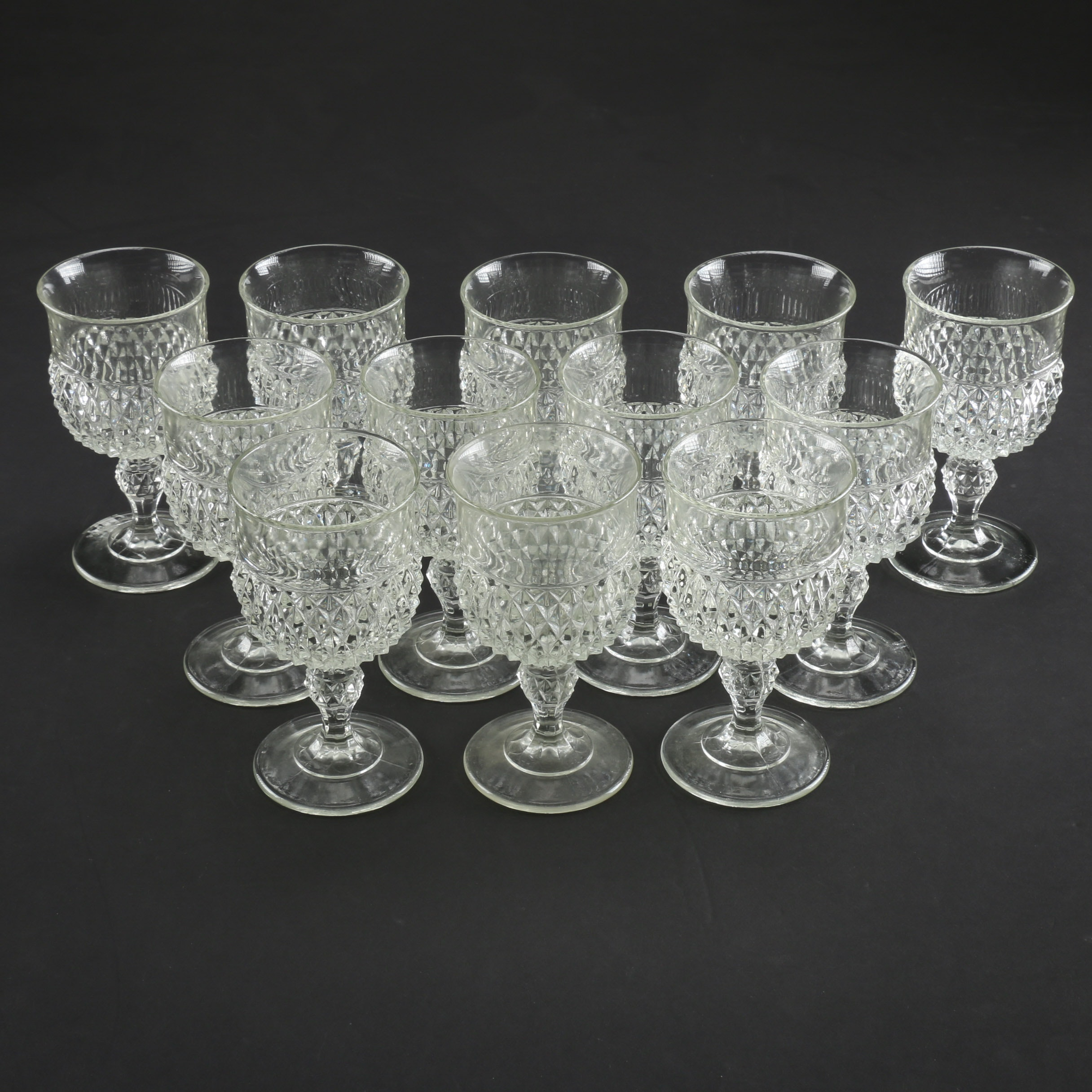 Cut Glass Wine Goblet Set