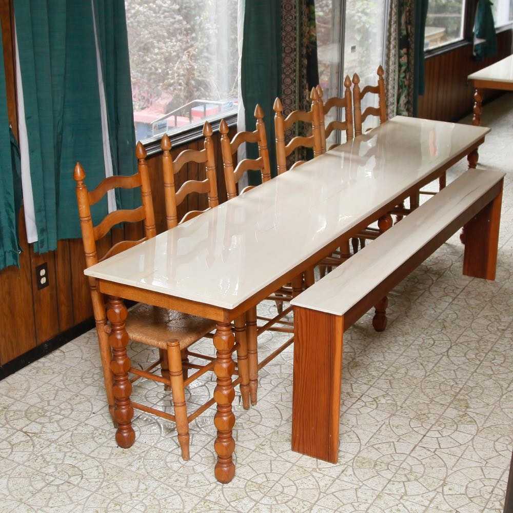 Maple Kitchen Table With Chair And Bench Ebth: German Fest Dining Table With Ladder Chairs And Bench : EBTH