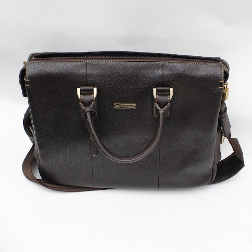 155f9d5483 Brooks Brothers Leather Briefcase with Padded Computer Insert : EBTH