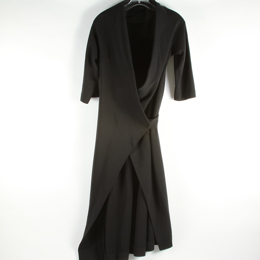 Womens Donna Karan Black Wrap Dress Ebth