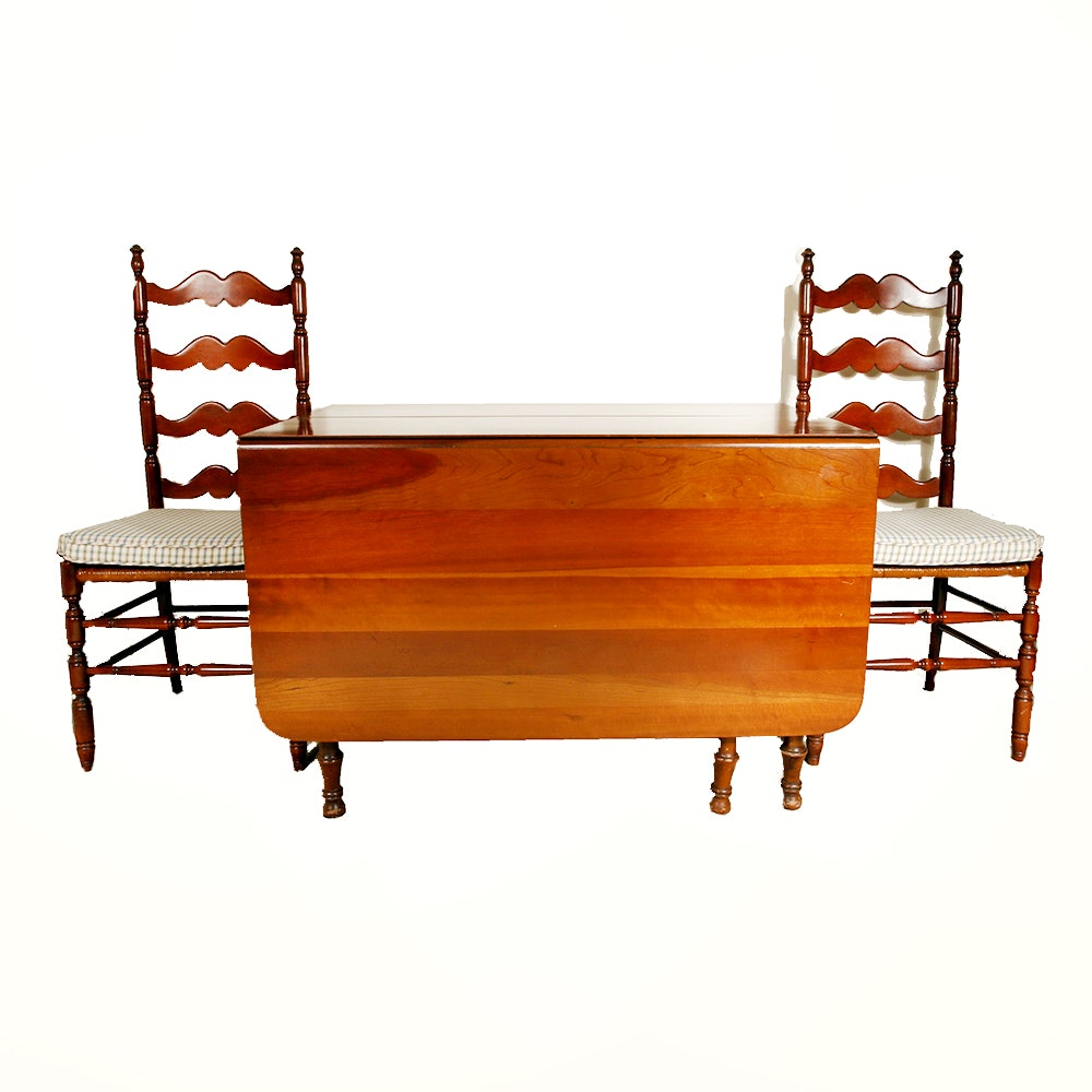 Cherry Dining Table and Pair of Chairs by Tell City Furniture