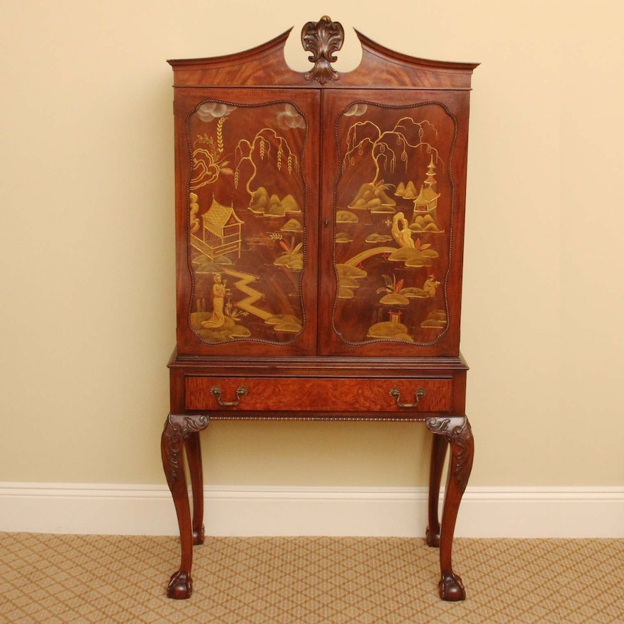 Antique Chinoiserie Cabinet On Stand ... - Antique Chinoiserie Cabinet On Stand : EBTH