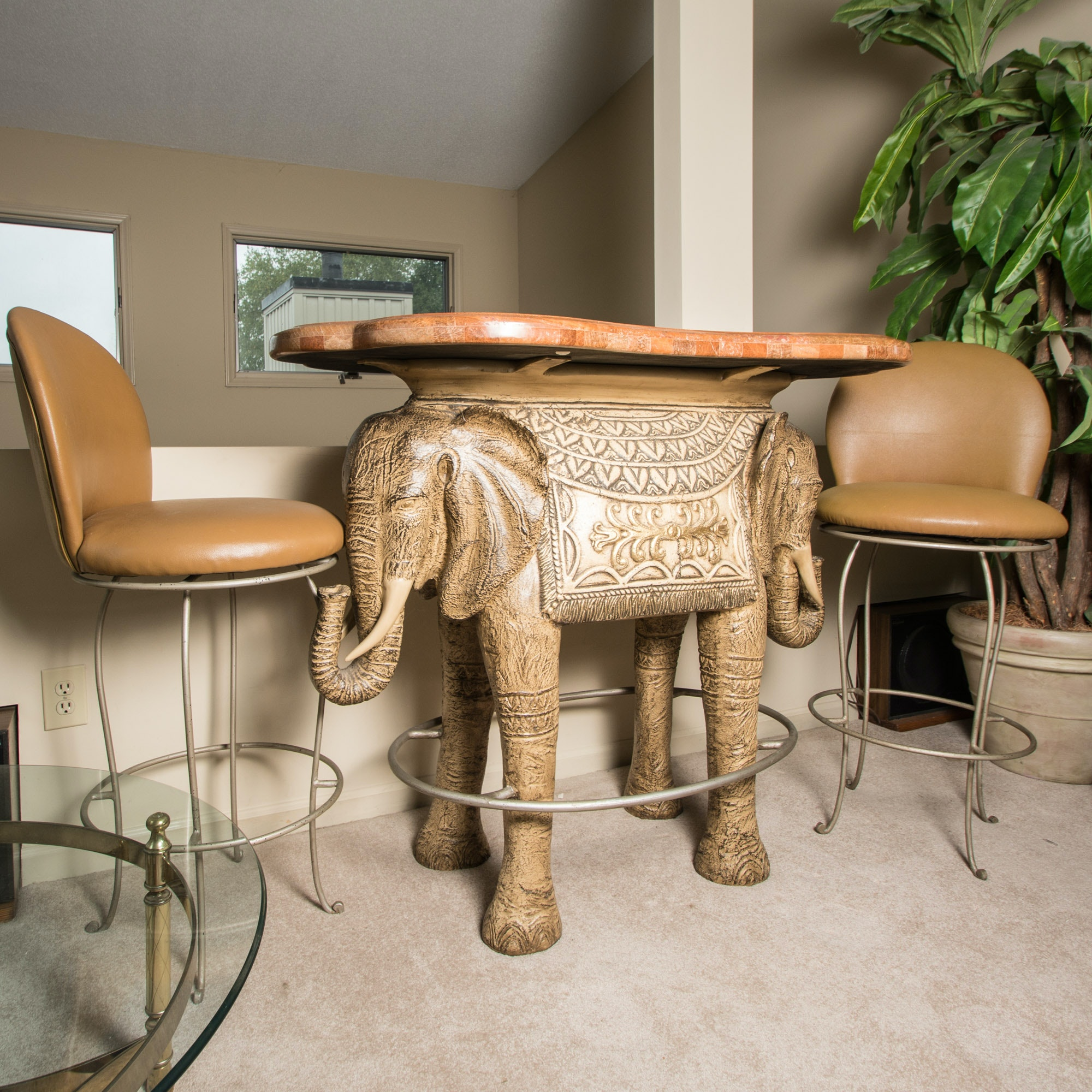 Elephant Bar Table with Stools