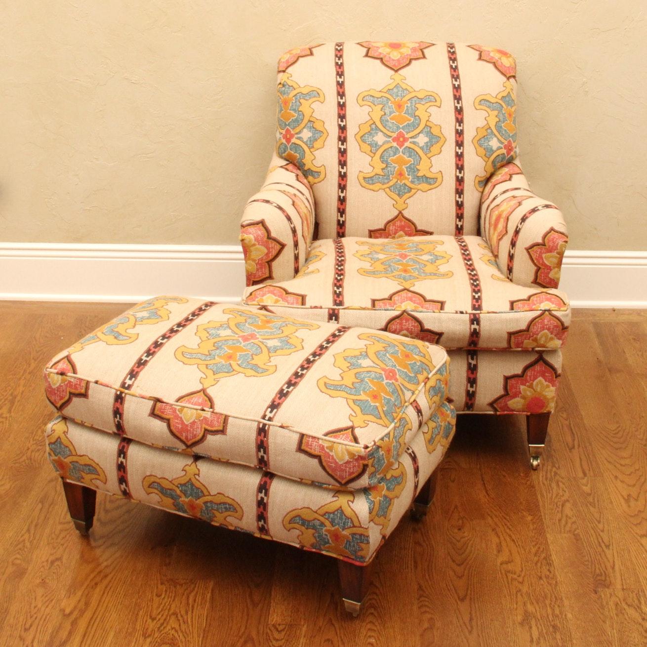 Custom Down-filled Club Chair and Ottoman ... & Custom Down-filled Club Chair and Ottoman : EBTH