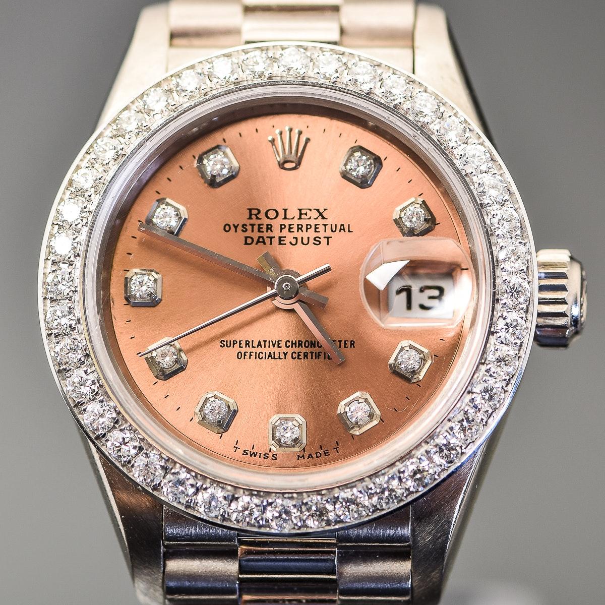 Women's Rolex Presidential 18K White Gold and Diamond Wristwatch
