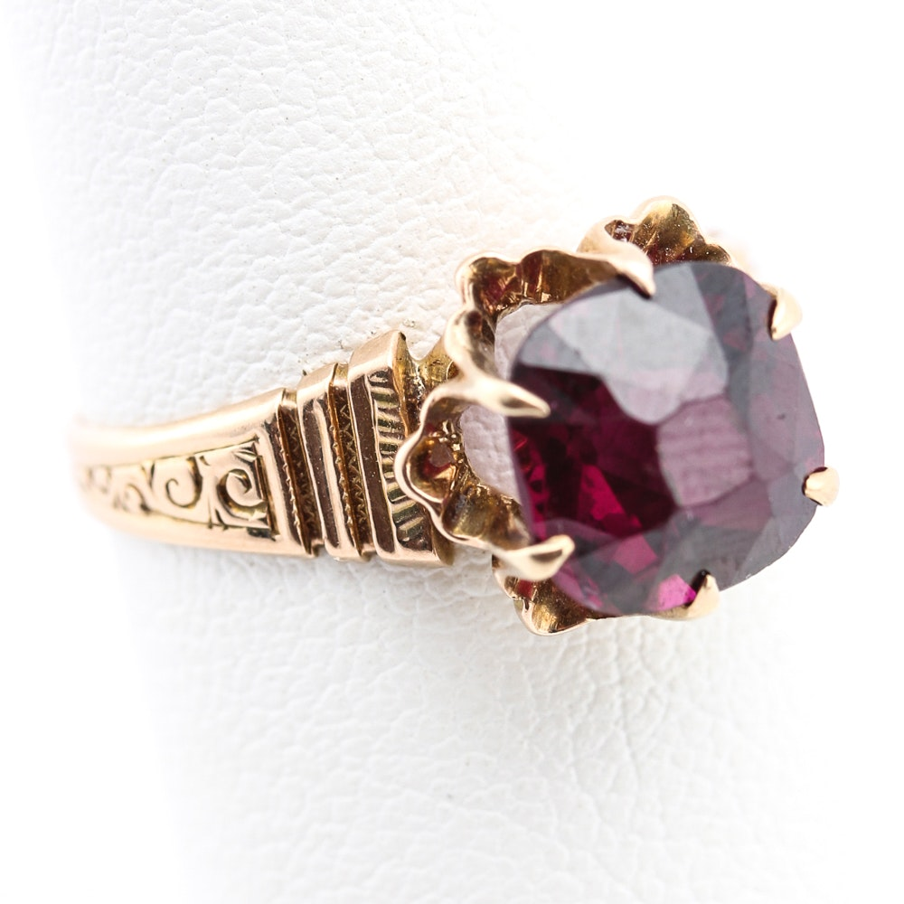 14K Yellow Gold Rhodolite Garnet Ring
