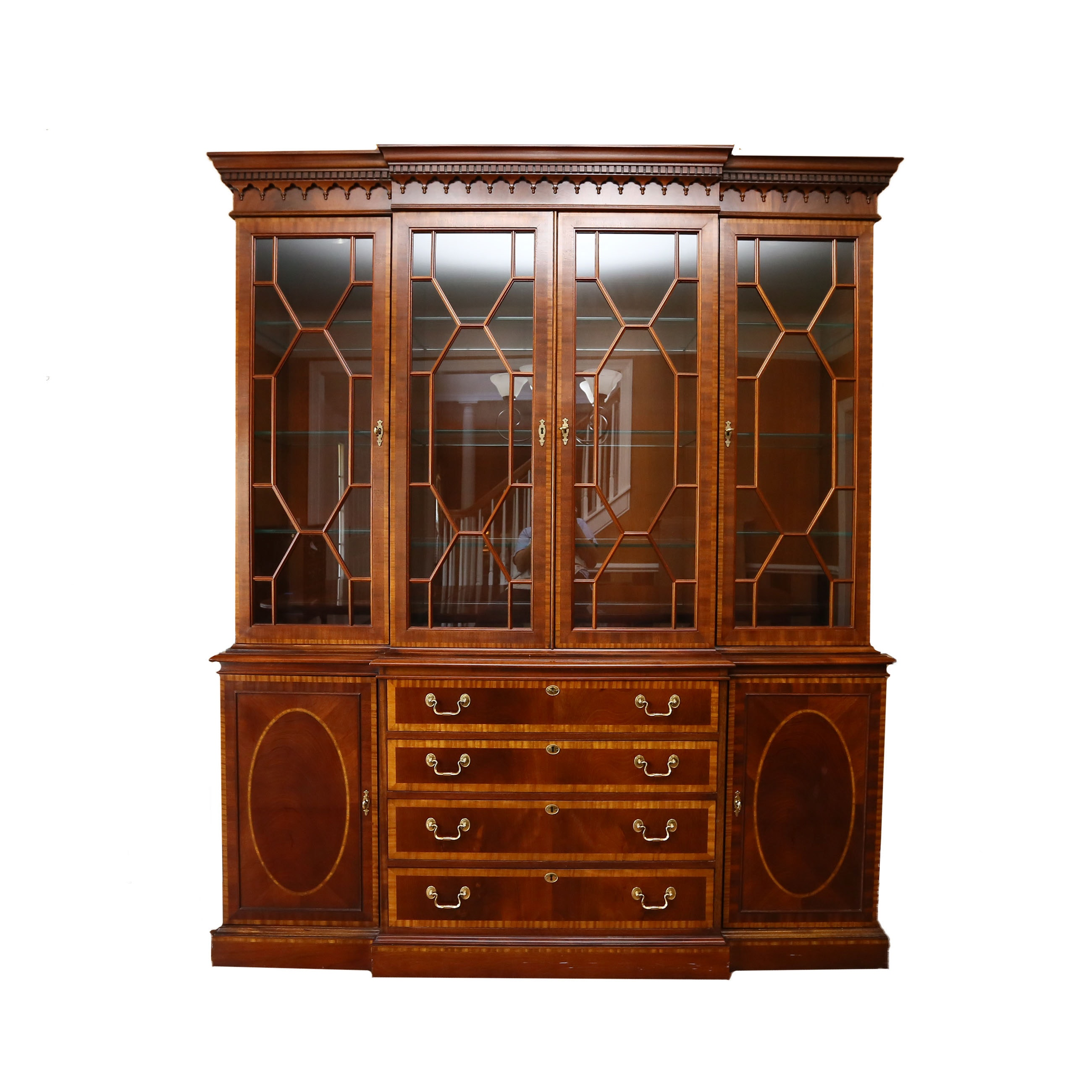 Mahogany Breakfront China Cabinet by Hickory Chair Furniture Co.