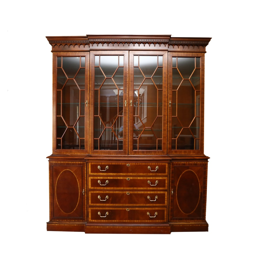 Mahogany Breakfront China Cabinet By Hickory Chair Furniture Co Ebth
