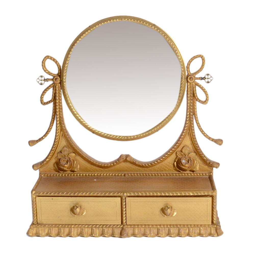 Rotating Vanity Mirror with Two Drawers
