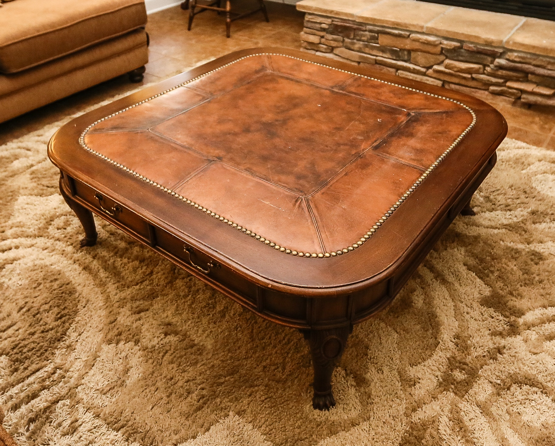 henredon leather top coffee table ebth
