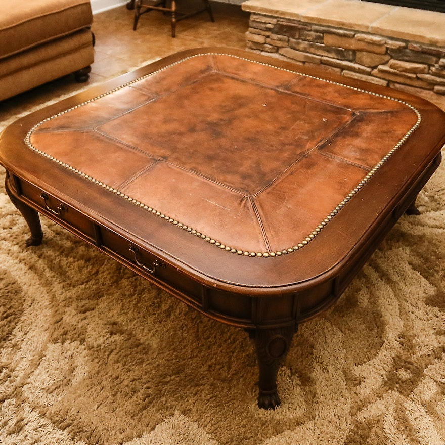 henredon leather top coffee table - Leather Top Coffee Table