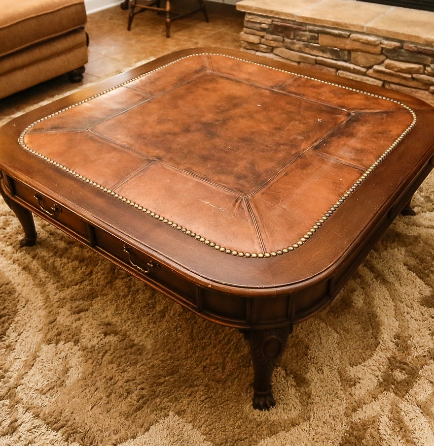 Coffee Table With Leather Top: Henredon Leather Top Coffee Table : EBTH
