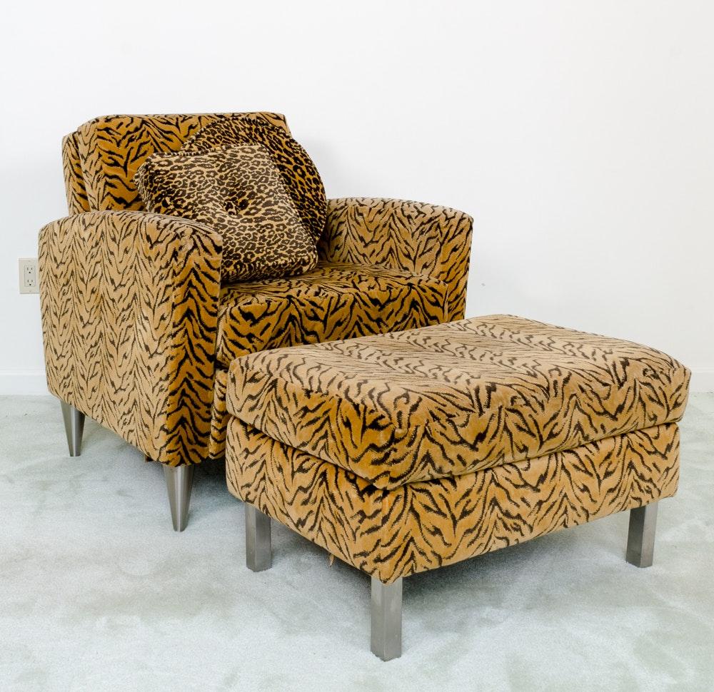 Contemporary Tiger Print Club Chair With Ottoman By La Z Boy ...