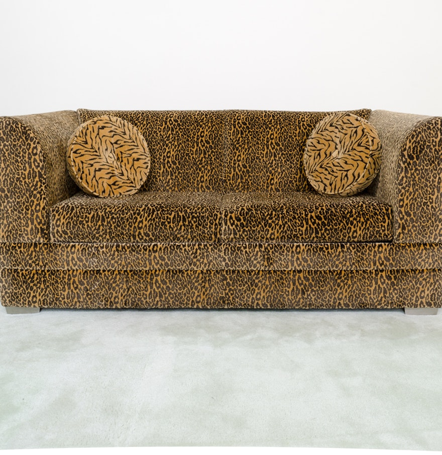 Contemporary Leopard Print Sleeper Sofa By La Z Boy Ebth