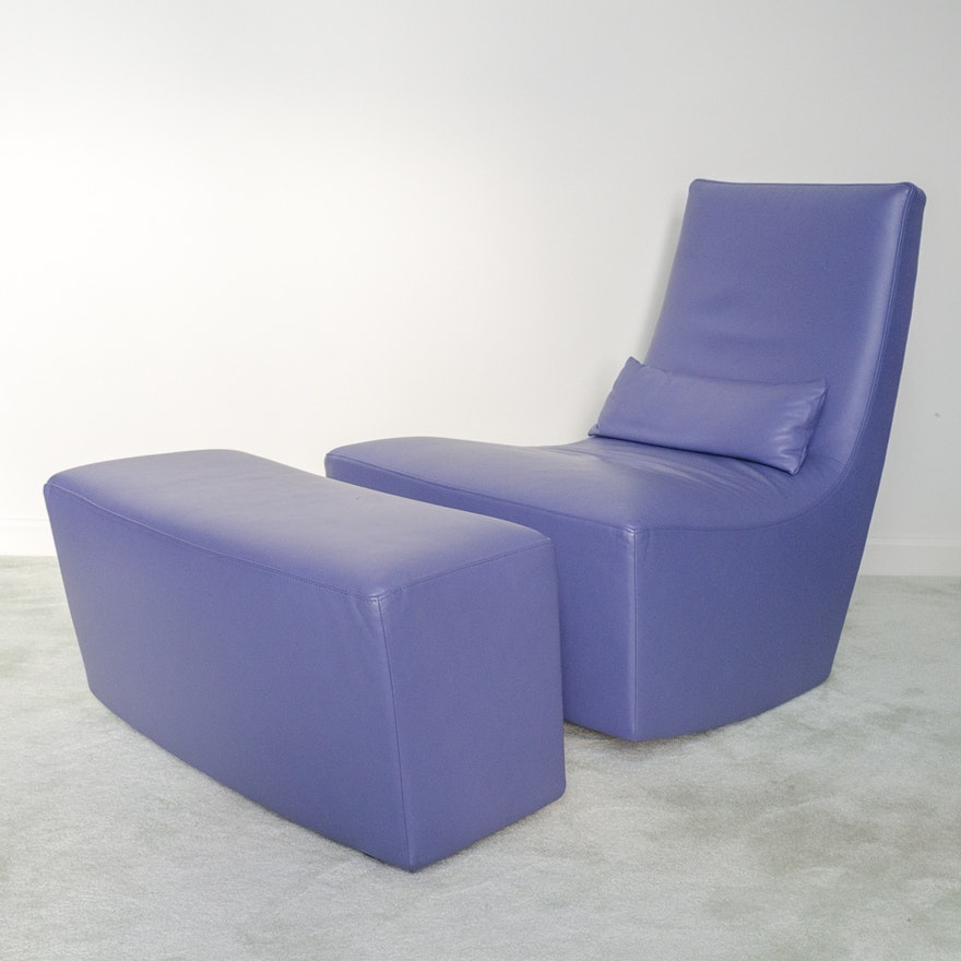 Contemporary Neo Rocking Chair And Ottoman By Ligne Roset Ebth - The-ottoman-from-ligne-roset