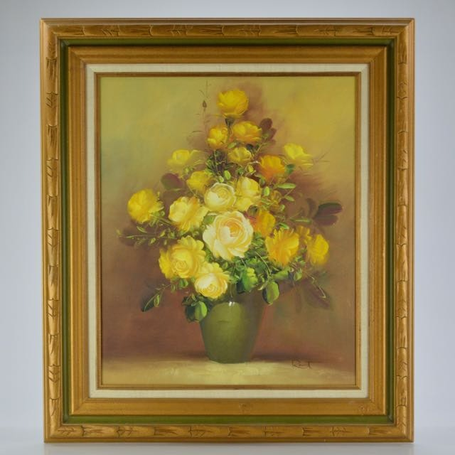 Framed Oil on Canvas of Yellow Roses