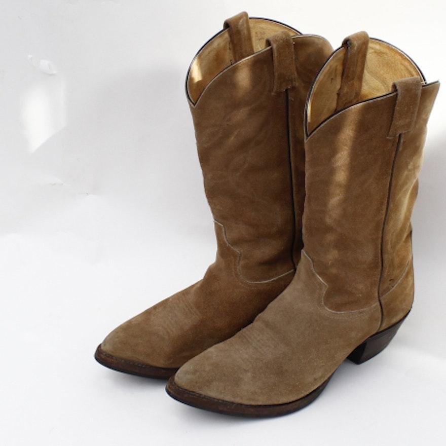 80f87bbc58e Men's Tony Lama Brown Suede Cowboy Boots