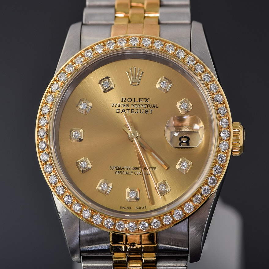 6d128271371 Men s Rolex Datejust Two-Tone Stainless Steel and 18K Gold Diamond  Wristwatch .