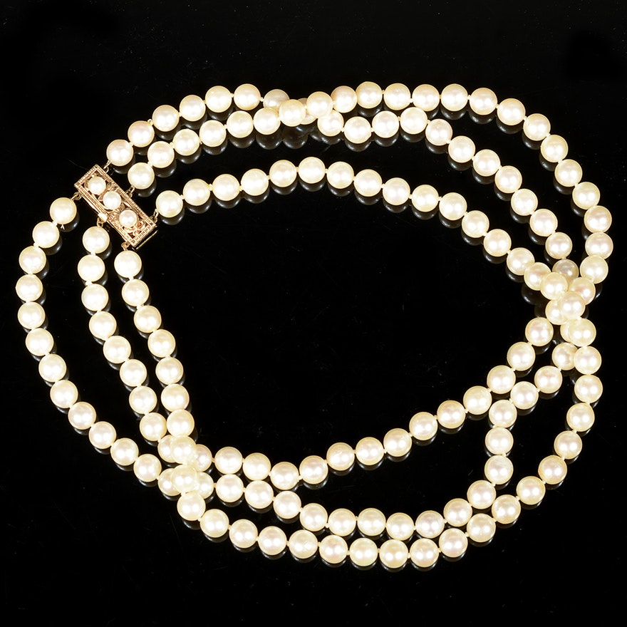 8fad866510a58 Three Strand Cultured Pearl Necklace with 14K Yellow Gold Clasp