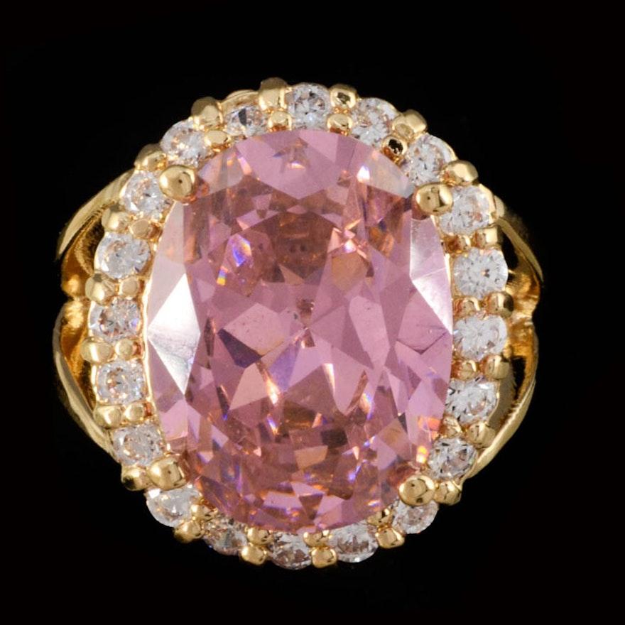Camrose & Kross Jacqueline Kennedy Simulated Pink Kunzite Vermeil Ring