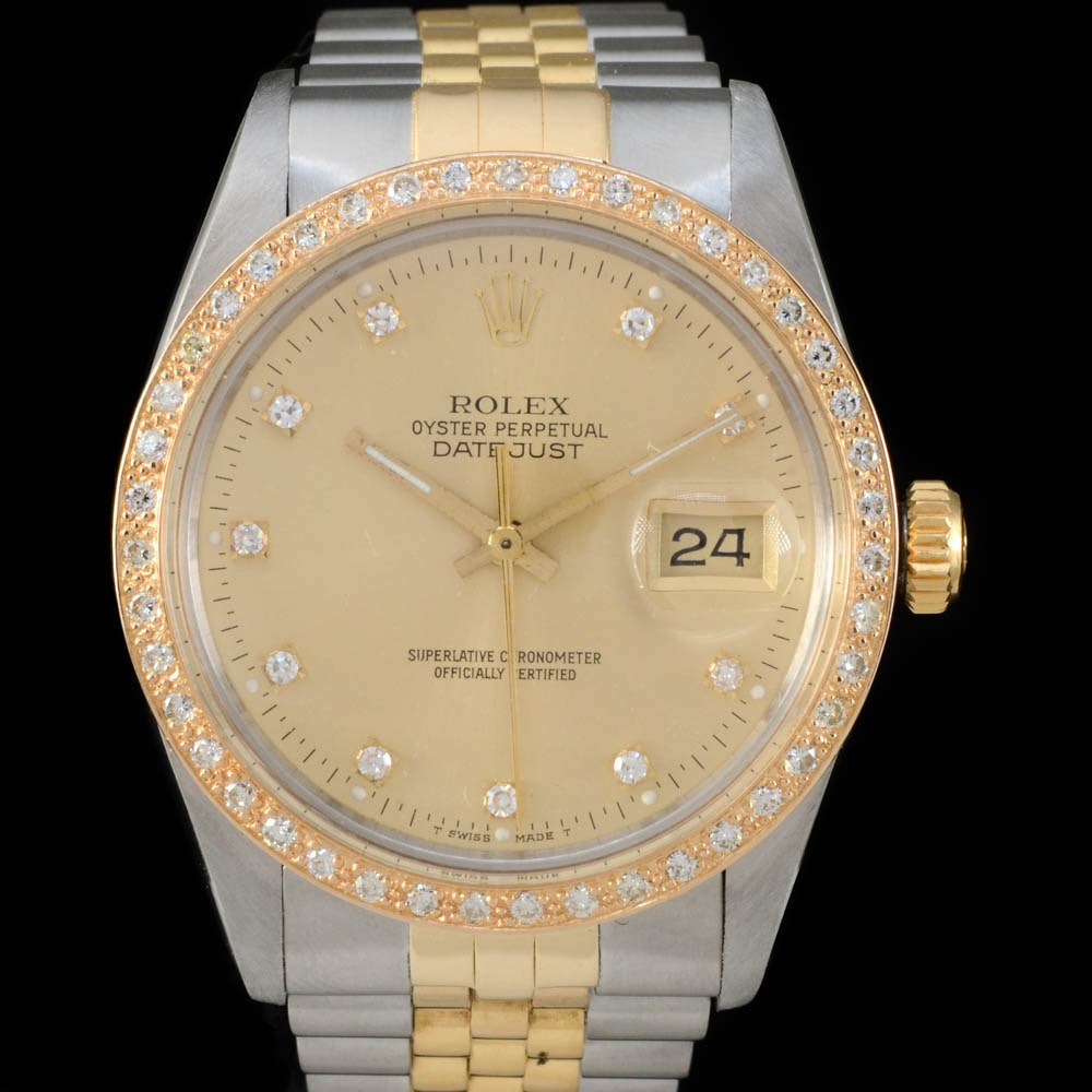 Men's Rolex Perpetual Datejust 18K Yellow Gold and Stainless Steel Diamond Dial Bezel Automatic Wristwatch