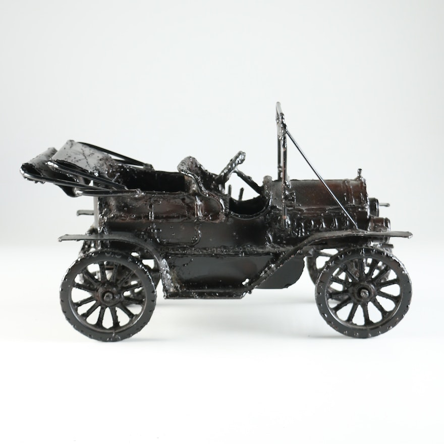 Signed Chet Blacketer 1910 Cadillac Iron Metal Sculpture