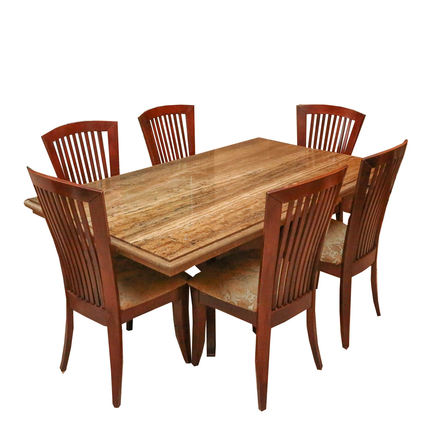 Stone International Marble Dining Table With Six Chairs ...