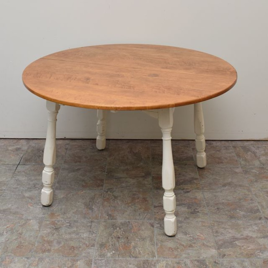 Vintage Maple Kitchen Table with Painted Legs