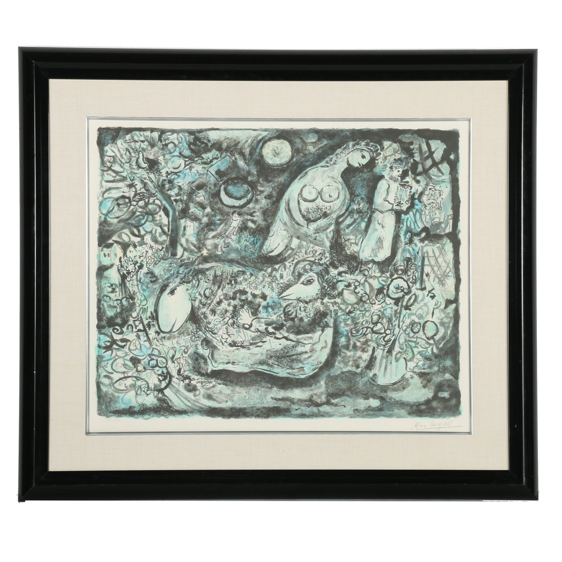 """Marc Chagall Signed Limited Edition Monochrome Lithograph """"Moses"""""""