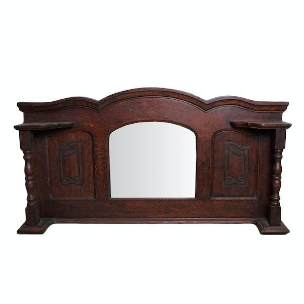 Antique oak mantle mirror ebth for Mantle mirror