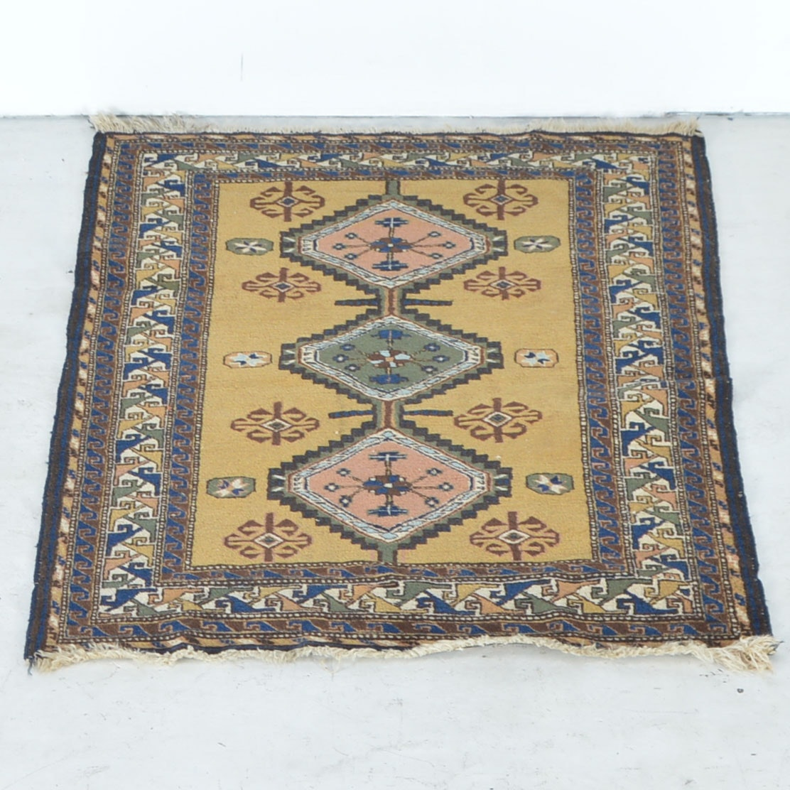 Semi-Antique Handwoven Kazak Shirvan Area Rug