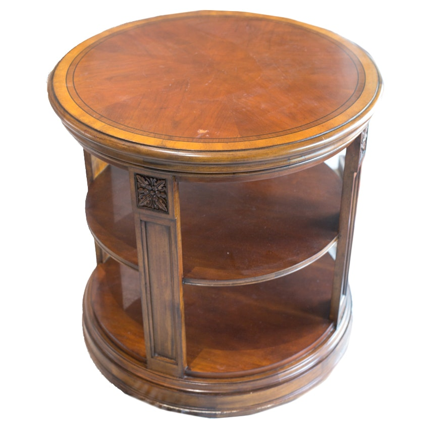 Superb Ethan Allen Round Seaver Library Table ...