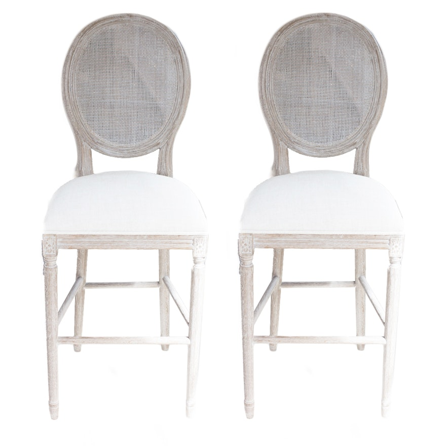Restoration Hardware Round Cane Back Fabric Stools