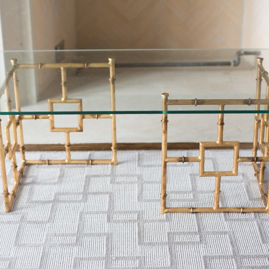 Bamboo Float Glass Coffee Table From One Kings Lane Ebth
