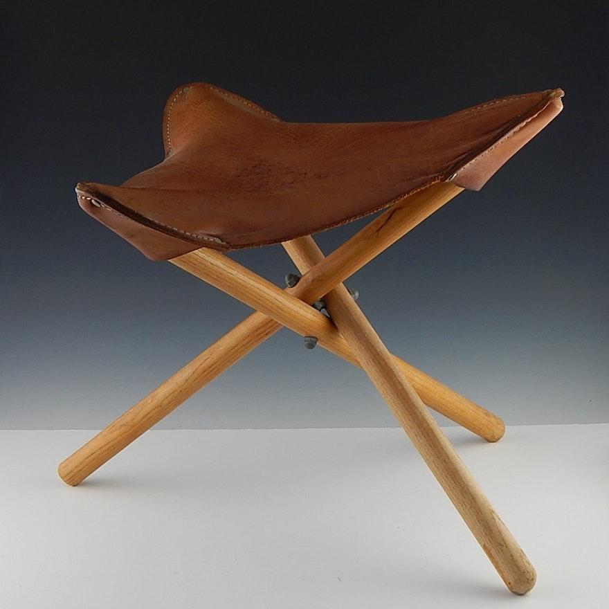 Tripod Folding Stool with Leather Seat : EBTH