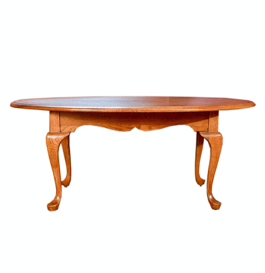 Oval Shaped Wooden Coffee Table Ebth