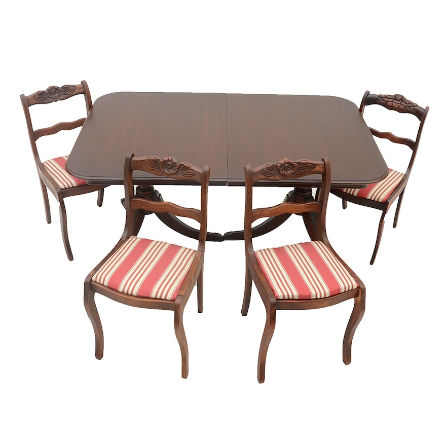 Mahogany Drexel Table With Four Rose Back Chairs