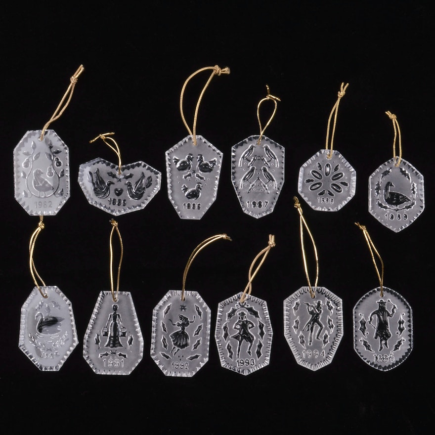 complete waterford crystal set 12 days of christmas ornaments